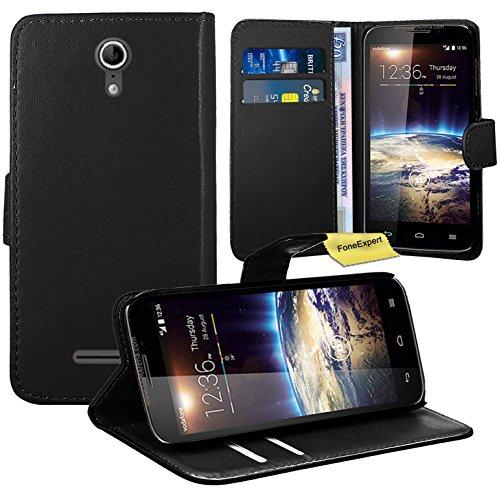 Vodafone Smart 4 Power Handy Tasche, FoneExpert® Wallet Case Flip Cover Hüllen Etui Ledertasche Lederhülle Premium Schutzhülle für Vodafone Smart 4 Power (Schwarz)