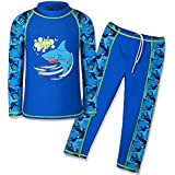 HUANQIUE HUANQIUE Boys Swimsuit UPF50+ UV Two Piece Protective Navy Long 7-8 Years