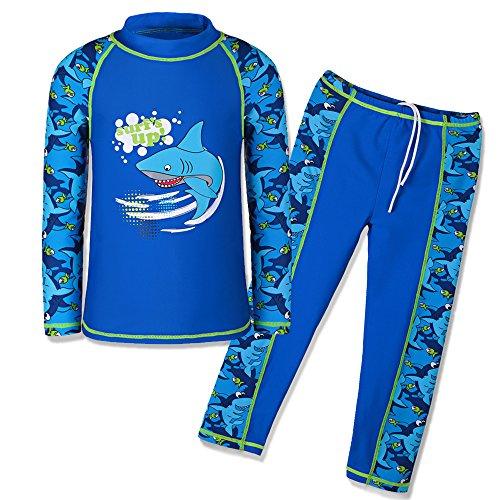 HUAANIUE Jungen Mädchen Bademode 3-12 Jahre Badeanzug~Zweiteiler Langarm 50 + UV Kinder Schwimmsportbekleidung Sonnenschutz