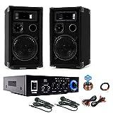 etc-shop PA Karaoke Musikanlage Boxen Verstärker Bluetooth USB SD MP3 SD 2X Mikrofon DJ-Party 10