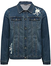 M&Co Ladies Cotton Long Sleeve Button Fastening Floral Embroidered Denim Jacket