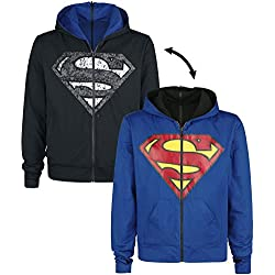 Superman Shield Hood Sudadera capucha con cremallera negro/azul S