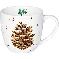 Taza de Navidad de Porcelana decorada con Piña y estrellas.