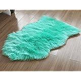 LIVEBOX decorativo Lujo sintética piel de cordero funda de asiento silla Pad Plain Shaggy alfombra de lana natural para suelo Supersoft Trow Extra largo Alfombras de pelo área Rugs–Alfombra, color marfil, verde menta, 60 x 100 cm