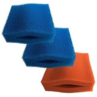 Finest-Filters Ersatz-Filtereinsatz für Teichfilter Oase Biotec 5/10/30, aus Schaumstoff, 2 x grob in Blau und 1 x fein in Rot