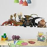 Bilderwelten Wandtattoo Dragons Drachengruppe, Sticker Wandtattoos Wandsticker Wandbild, Größe: 25cm x 75cm