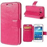 Flip Case Business Case Handytasche Etui Cover Samsung Galaxy Core Plus / SM-350 - deep-pink rosa Ständer mit Kreditkartenfach