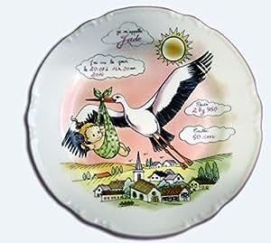 Assiette naissance - Personnalisée - Décor Cigogne