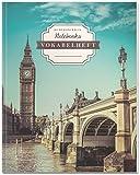 DÉKOKIND Vokabelheft   DIN A4, 84 Seiten, 2 Spalten, Register, Vintage Softcover   Dickes Vokabelbuch   Motiv: English Sights