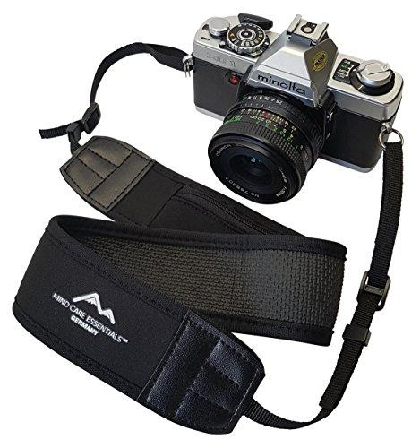 Breiter Neopren Kameragurt-Schultergurt in schwarz mit kleinem Reißverschlussfach Tragegurt Trageriemen Quick-strap für Canon Nikon Sony DSLR-Kameras // MIND-CARE-ESSENTIALS