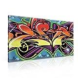 TapetoKids Leinwandbild Abstrakte Graffiti Kunst - XXL - 100 x 75 cm - Komplettpaket! - fertig gerahmt und inklusive Aufhängung - hochwertige 230g/m² Leinwand auf Keilrahmen - kinderleichte Anbringung