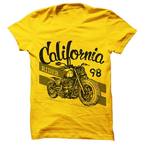 Printing Geeks Colifornia Rider Yellow Printed/Animated Round Neck Designer Men's Cotton T Shirt  available at amazon for Rs.499