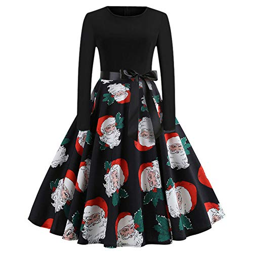 (B-commerce Womens Party Dress 2018 Vintage Print Long Sleeve Christmas Evening Swing Dress Cure A Ling Dress)