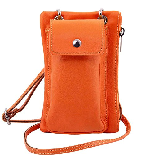 Tuscany Leather - TL Bag - Sac bandoulière pour portable en cuir souple - Orange