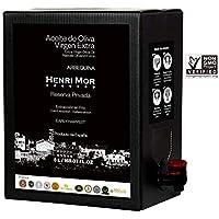 Henri Mor – Aceite de Oliva Virgen Extra Arbequina, Premio Oro Olive Japan, Reserva Privada, Extracción en Frío, Bag in Box con Grifo Antigoteo, 5L
