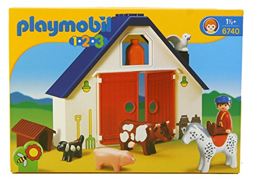 Playmobil 1.2.3 Animal Farm - kits de figuras de juguete para niños (De plástico, Multi)