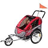 FROGGY Kinder Fahrradanhänger 360° Drehbar mit Federung + Joggerfunktion + 5-Punkt Sicherheitsgurt, 2in1 Anhänger für 1 bis 2 Kinder, Design Cherry