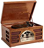 Wooden Retro Turntable 3 Speed AM/FM CD and Tape Player 2450-M04-UK