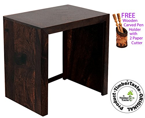 Genuine our brand TimberTaste SATIN Large size Solid Sheesham Wood Dark Walnut Corner Accent End Side Table