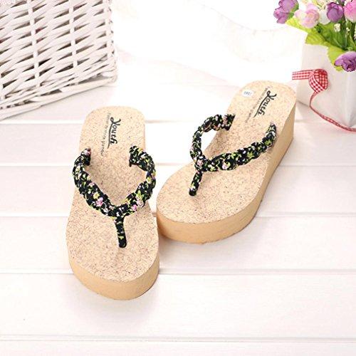 Sandales, Malloom Flip FéMinin Flops Chaussons Chaussures Sandales De Plage Chaussures D'éTé Noir