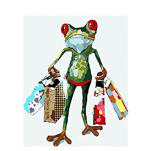 DIY Digital Malen nach Zahlen Codierung Ölgemälde gerahmt mit Box Shopping Tiere abstrakt Home Wand Kunst Leinwand Gemälde Wohnzimmer Artwork 16×20 Zoll Geburtstag Hochzeit Weihnachten Danksagung Geschenk für Kinder und Erwachsene