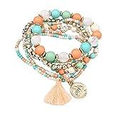 Bellelove Femmes Élégant Bracelets Élastique Multicouche Perles Jade Pas Cher Bracelets Bracelet Acrylique Bracelet Glands Bracelets Match Dress (Vert)