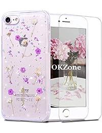OKZoneFunda iPhone SE(2020) (4,7 Pulgadas) [conProtectorPantalla],[FlorEterna]FlorEternaHechoaManoTransparenteSiliconaSuaveTPUSiliconaCárcasaCaseUltraFinaCover (Púrpura)