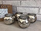 Juego de 4 velas redondas de cristal de mercurio, candelabros de té, boda, Navidad