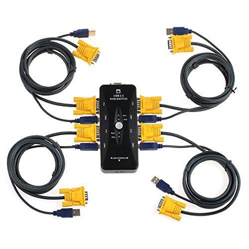 AUTOUTLET - Conmutador KVM USB 2.0 4 Puertos KVM 4