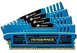 Corsair CMZ16GX3M4A1600C9B Vengeance 16GB (4x4GB) DDR3 1600 Mhz CL9 Mémoire pour ordinateur de bureau performante avec profil XMP. Bleu