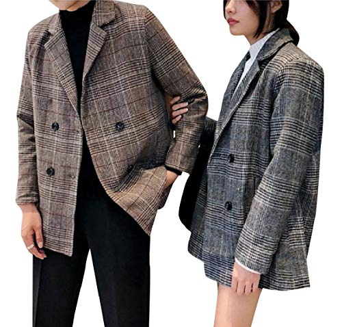 CuteRose Double-Breasted Slim Fitted His-and-Hers Long Blazer Sport Coat Coffee L Double Breasted Coat Petite