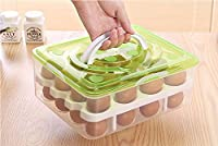 PETRICE Double Layer Plastic Egg Box Kitchen Refrigerator 32 Grid Egg Container Storage Box/Holder/Case Food Crisper Organizer