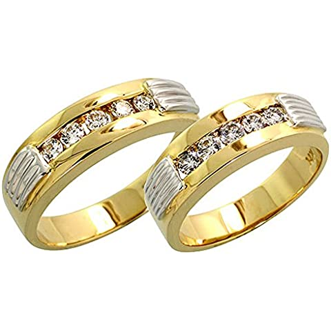 14 K Two-tone Gold di matrimonio a fascia scanalato (donna: 5 mm; uomo: 6 mm), w/0,66 kt con diamanti taglio brillante, da uomo, misura R X A)