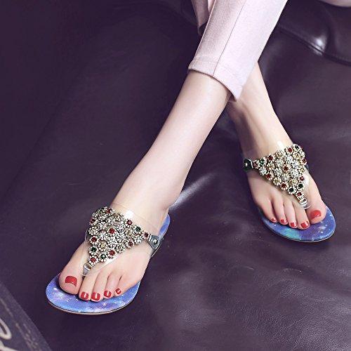 ZYUSHIZ Leder Frau Hausschuhe niedrig mit kühlen Hausschuhe synthetischer Diamant die Rechtschreibprüfung Farbe T-Hausschuhe Sandalen 37