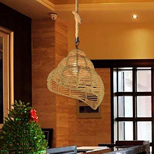 QHMC-Retrò industriale di personalità, lampadari di ferro di canapa Conch