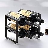 QIANGZI Weinflaschenständer Für 12 Flaschen - Tischplatte Weinregal in Schwarz (Eisen) Arbeitsplatte Kabinett Freistehend (Farbe : 4 Bottle, Größe : 3 Tier)