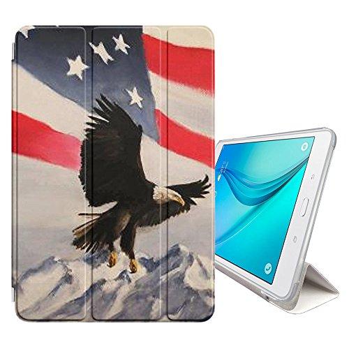 Graphic4You Flying American Eagle USA Flag Smart cover Hülle Dünn Tri-Fold Schlank Superleicht Ständer Cover Schutzhülle Tasche für Samsung Galaxy Tab E - 9.6