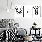 Nordic Ideas Set de 3 Affiches Noir et Blanc Tenant par la Main et Citation Amour Murale Chambre Tableaux Décoration Peinture sur Toile Poster Deco Salon sans Cadre PTQT002-L