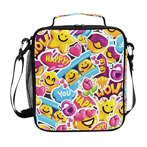 QMIN Lunchtasche Star Emoji Smiley Print Lunchbox mit Reißverschluss, isoliert, wiederverwendbar, Thermo-Tragetasche mit Schultergurt für Mädchen Jungen Damen Herren