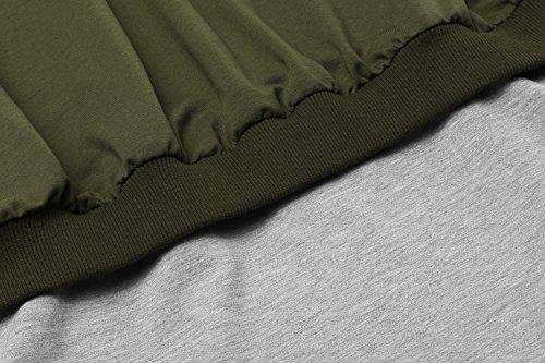 Damen Sexy Langarmshirt Trägerlos T-shirt Schulterfrei Bluse Hemd Oberteil Top Armee Grün