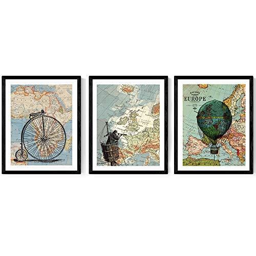 Nacnic ACK-Rahmen Blatt für die Welt zu Reisen. Poster mit Bildern von Karten. Größe 24x30cm