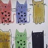 Staab's Beschichtete Baumwolle Bunte Katzen (Meterware, Qualität Zum Nähen) (50 x 140 cm)
