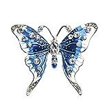 Wicemoon Azul Broche de Mariposa Para Mujer Collar Ramillete Insectos Cristal Insignias 4.5cm*4cm