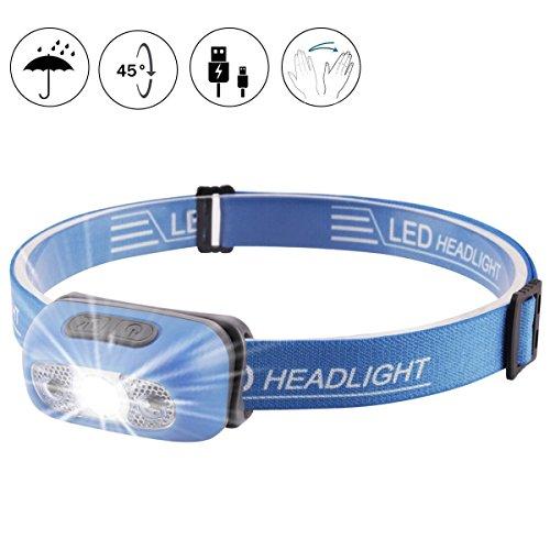 YEXIN Intelligenter Induktions-Scheinwerfer USB aufladbare LED-Kopf-Fackel-helle Wasserdichte leichte Minisensor-Kopf-Fackel 7 Modi für laufendes kampierendes Lesen DIY, USB-Kabel eingeschlossen