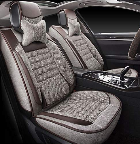 Makoou Coprisedili Car Seat Protector Lino Car Seat Cover Cuscini Anteriore Posteriore Set Completo per seggiolino Auto a 5 posti per Auto (Colore : C)