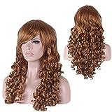 AN-LKYIQI Oro largo ondulado pelo rizado peluca sintética completo Cosplay pelo resistente al calor de las mujeres