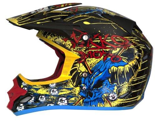Nikko N-719 - Casco da motocross, taglia XXL, colore: nero/verde/blu