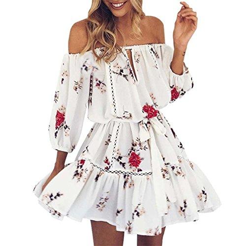 Moonuy Robe Femme, Summer Off épaule Floral Print Sundress Party Beach Mini Robe Courte Printemps Imprimé AU-Dessus Du genou, Mini Jupe En couches (EU 36/Asien M, Weiß) (Print-satin-robe)
