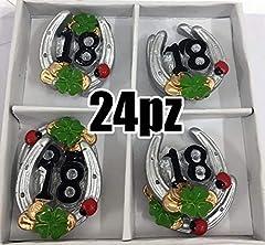 Idea Regalo - 24 PZ Ferro di cavallo ADESIVO portafortuna 18 ANNI compleanno BOMBONIER