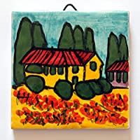Tuscan landscape- Ceramic tile hand decorated, dimensions inch 3.9x3.9x0.3 inch. Made in Tuscany Italy, Lucca.